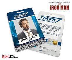 iron man avengers inspired stark industries employee id tony