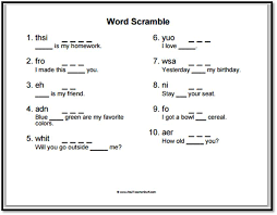 sight words scramble worksheet a to z stuff printable