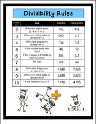 free math lesson u2013 u201cdivisibility rules poster page and isn