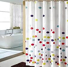 Curtain With Hooks Homeideas Colorful Polka Dot Designer White Shower