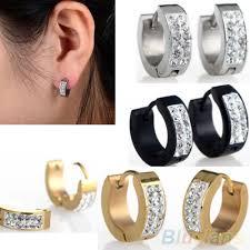 huggie earrings unisex rhinestones inlaid titanium steel ear studs hoop huggie