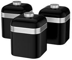 black kitchen canisters retro tea coffee and sugar kitchen canisters black swan cpc