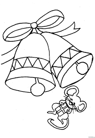 coloring page christmas bells and mouse coloring me
