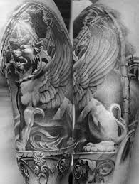 lion statue 40 lion statue tattoo designs for men carved ink ideas