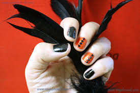 glam halloween nails orange u0026 black diamonds