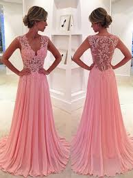 simple dresses buy a line v neck sweep side zipper pink chiffon prom dress