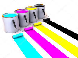 rollers brush and buckets of paint 3d u2014 stock photo maxxyustas