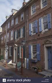 early american brick colonial row houses dating from 1720 in stock