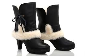 ugg sale high ugg moccasins cheap ugg fur leather high heeled boots 5108 black