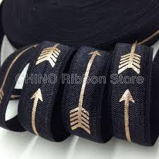 elastic ribbon by the yard 10 yard 5 8 gold foil arrow print foe black fold