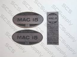mcculloch mac 15 us model decal set chainsawr