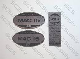 mcculloch mac 15 us model decal set chainsawr