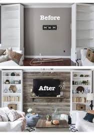 Living Room Wall Decorations by How To Build A Pallet Accent Wall With Tv Mounted On Top Link To