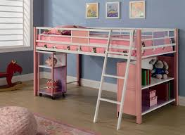 Bunk Bed With Storage And Desk Loft Bed In Pink Finish By Coaster 460200