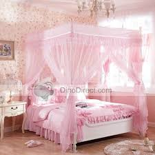 Cot Bed Canopy Romantic Pink Household Double Ruffle 4 Poster Bed Canopy For Sale