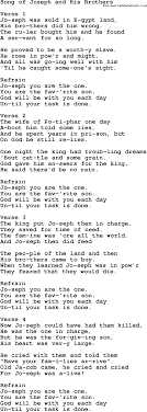 christian childrens song song of joseph and his brothers lyrics
