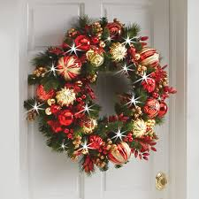 the cordless prelit kensington trim wreath hammacher