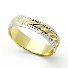 5mm diamond accent 14k two tone gold 5mm diamond cut wedding band for