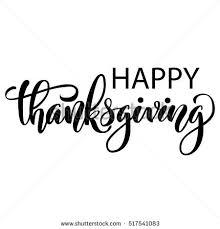 happy thanksgiving brush lettering isolated stock illustration