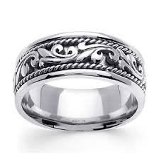 deco wedding band 9mm scroll deco 14k white gold men s wedding band goldenmine