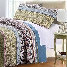 boho bohemian mandala blue green reversible cotton quilt bedding set