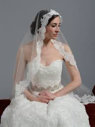 ivory wedding veil alencon lace v044