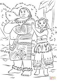 tui and sina from moana coloring page free printable coloring pages