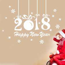new year sticker happy new year 2018 merry christmas new snowflake wall sticker