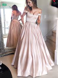 a line off the shoulder pink long prom dress with pocket