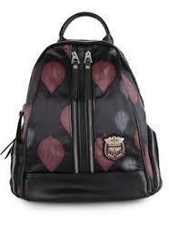 Tas Huer wanita tas backpack liyon patches printed backpacks