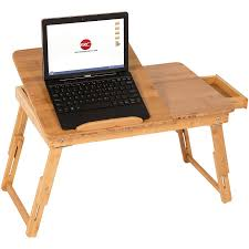 Laptop Desk Bed 100 Bamboo Adjustable Laptop Desk Table Tilting Top Drawer