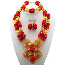 red crystal beads necklace images Fabulous red crystal african wedding beads jewelry set original jpg