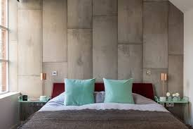 mint and grey bedroom industrial with blue pillows wooden side