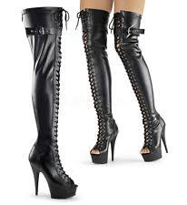s thigh boots uk pleaser devious delight 3025 black faux leather stretch thigh
