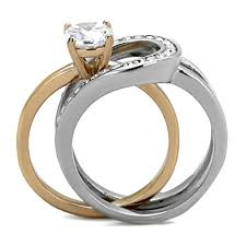 wedding ring sets for women 1ct cut two toned stainless steel 2 wedding ring set