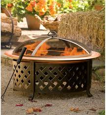 Steel Fire Pit - lattice steel fire pit with copper finished fire bowl fire pits