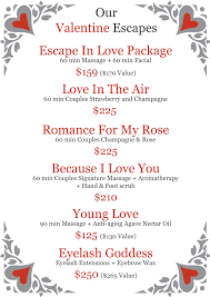 valentines specials valentines day specials escape wellness spa