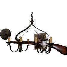 Gun Chandelier by Rare Vintage Wrought Iron Hunting Rifle Gun Rack Holder 8 Light
