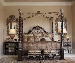 luxury king size bed frame with headboard and using four pole