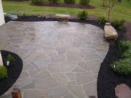Outdoor Slate Patio Custom Irregular Flagstone Patio With Boulder Benches