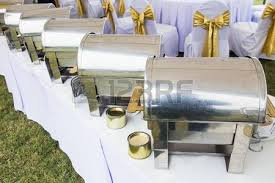many buffet heated trays ready for service stock photo picture