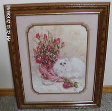 homco home interiors artist julia crainer picture white cat pink