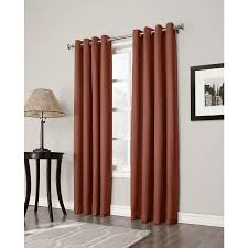 Single Blackout Curtain Shop Allen Roth Bandley 84 In Brick Polyester Grommet Blackout