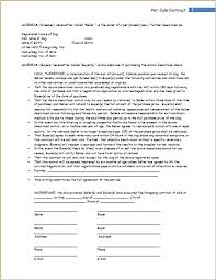 pet sale contract template for word word u0026 excel templates