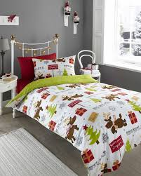 Childrens Duvet Cover Sets Santa Reindeer Christmas Tree Kids Duvet Quilt Cover Bedding Linen