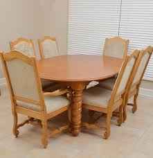 broyhill pine dining table and six chairs ebth