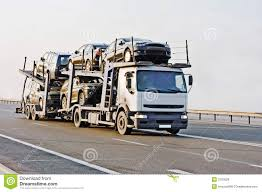 car carrier truck car carrier truck deliver new auto batch to dealer royalty free