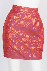 silk skirt christian pink orange jacquard silk skirt suit sz 38