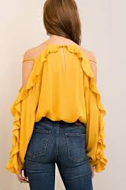 rayon blouse ruffle cold shoulder sleeve rayon blouse shopslayplay com