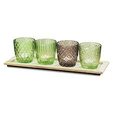 green glass l shade the naturally modern centerpiece of 4 votives and on a rectangular